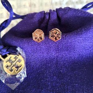Tory Burch Logo Hexagon Stud Earrings